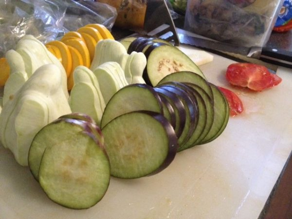 Slice up your veg. Even the weirdest summer squash makes a layerable slice.