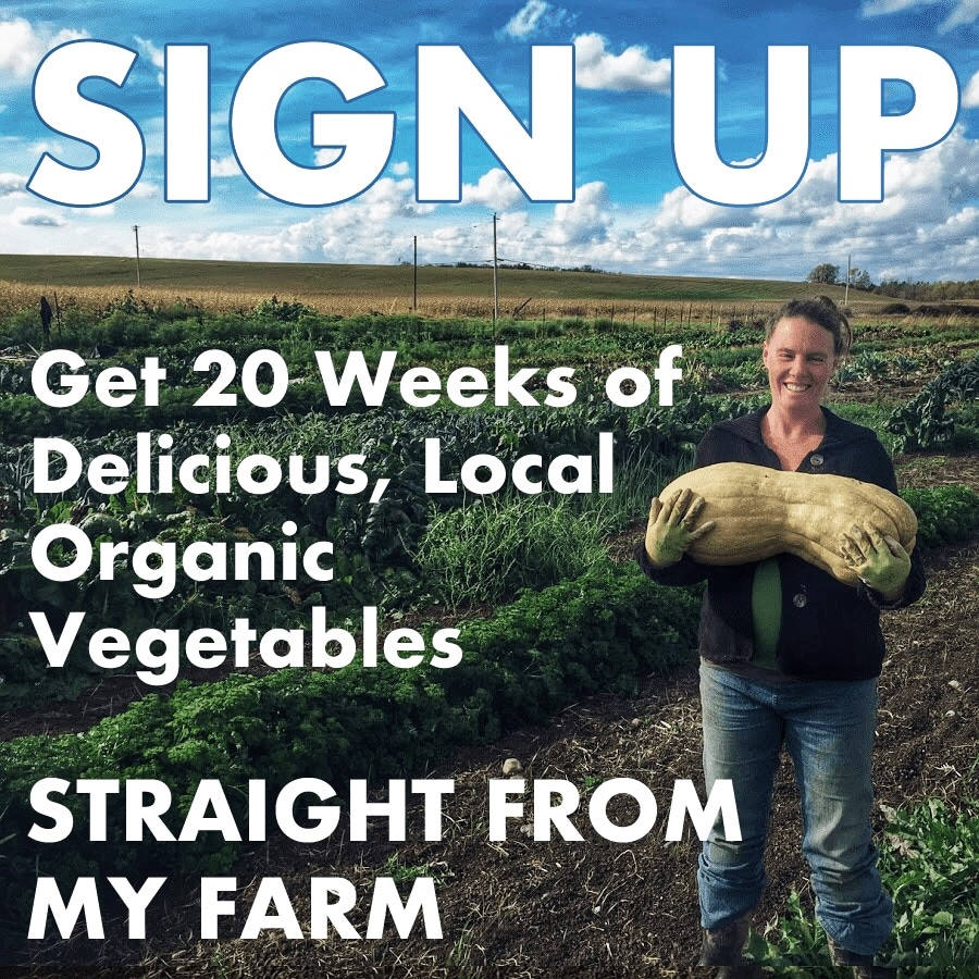 Text reads: SIGN UP Get 20 Weeks of Delicious, Local Organic Vegetables STRAIGHT FROM MY FARM