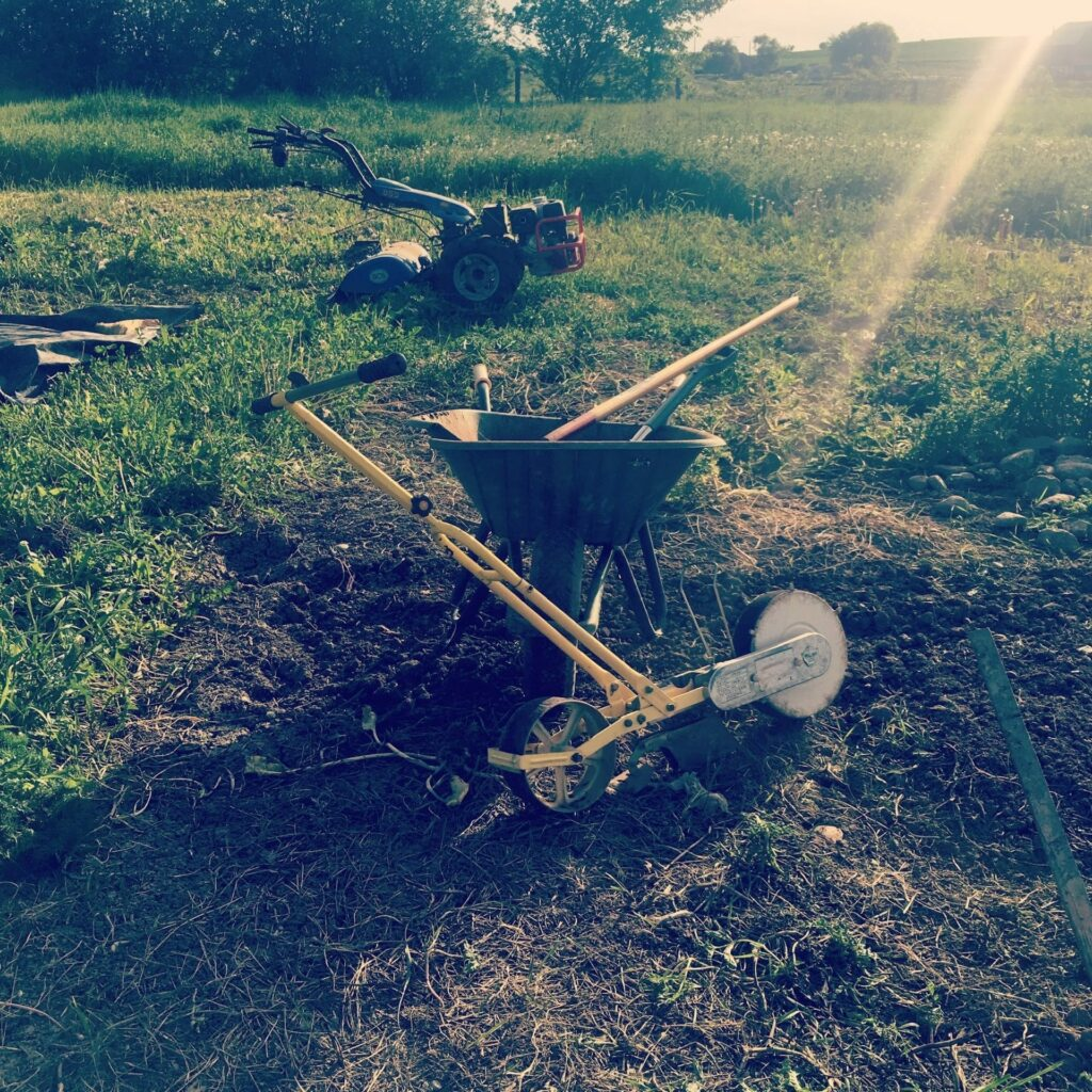 Farming implements after a long days' work on an organic vegetable farm
